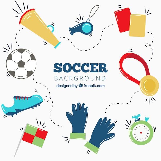 Fond de coupe du monde 2018 de football avec des éléments Vecteur gratuit