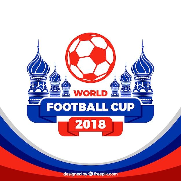 Fond de coupe du monde de football avec l'architecture dans le style plat Vecteur gratuit