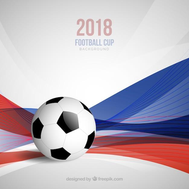 Fond de coupe du monde de football avec ballon et vagues Vecteur gratuit