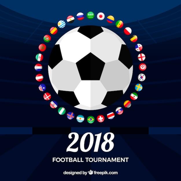 Fond de coupe du monde de football avec ballon Vecteur gratuit