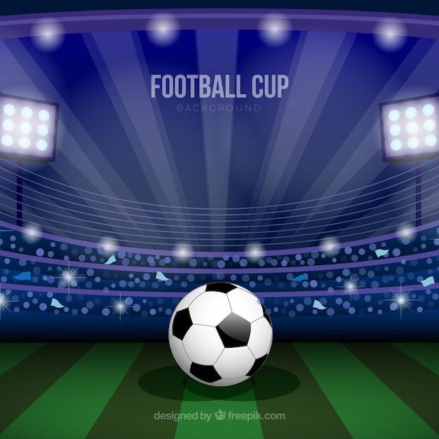 Fond de coupe du monde de football avec champ Vecteur gratuit