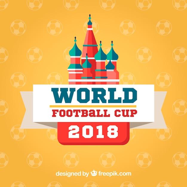 Fond de coupe du monde de football dans le style plat Vecteur gratuit