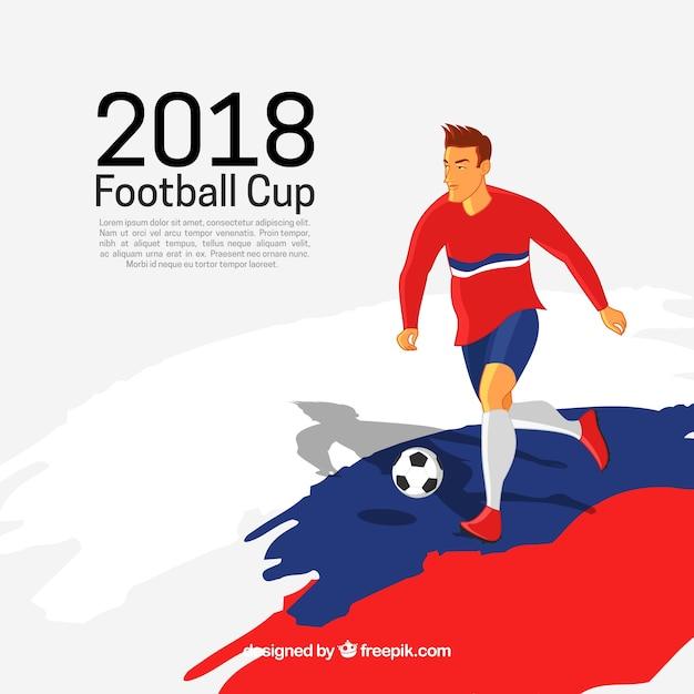 Fond de coupe du monde de football avec joueur Vecteur gratuit