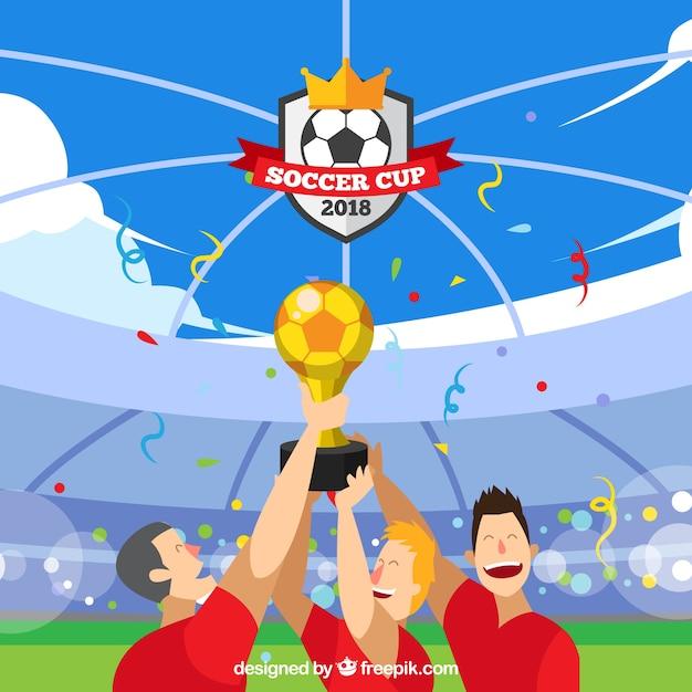 Fond de coupe du monde de football avec des joueurs tenant un trophée Vecteur gratuit