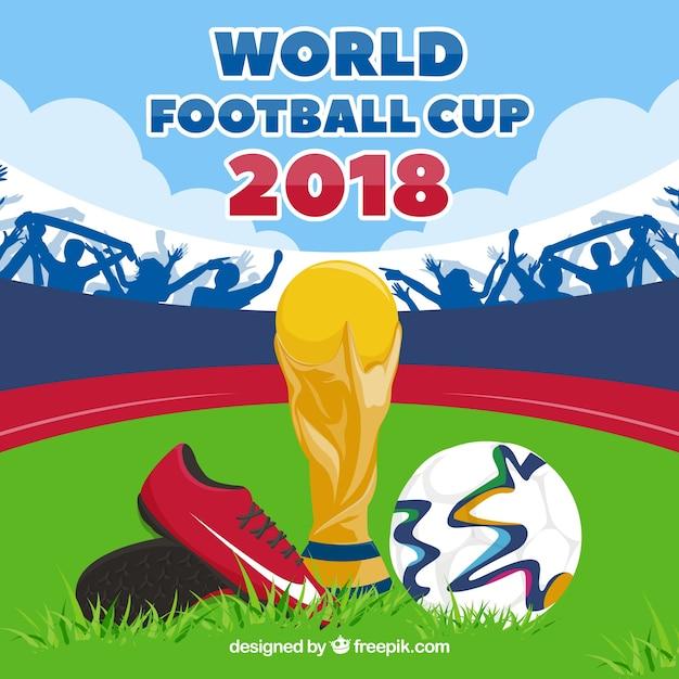 Fond de coupe du monde de football avec trophée et balle Vecteur gratuit