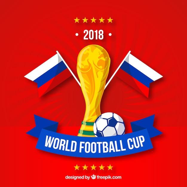 Fond de coupe du monde de football avec trophée d'or Vecteur gratuit
