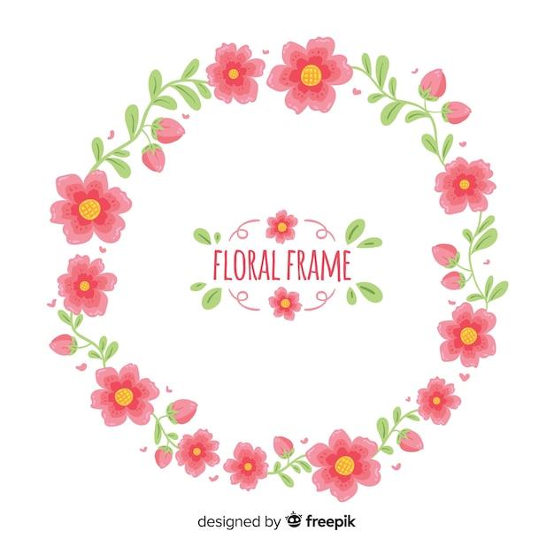 Fond De Couronne Florale Dessiné à La Main Vecteur gratuit