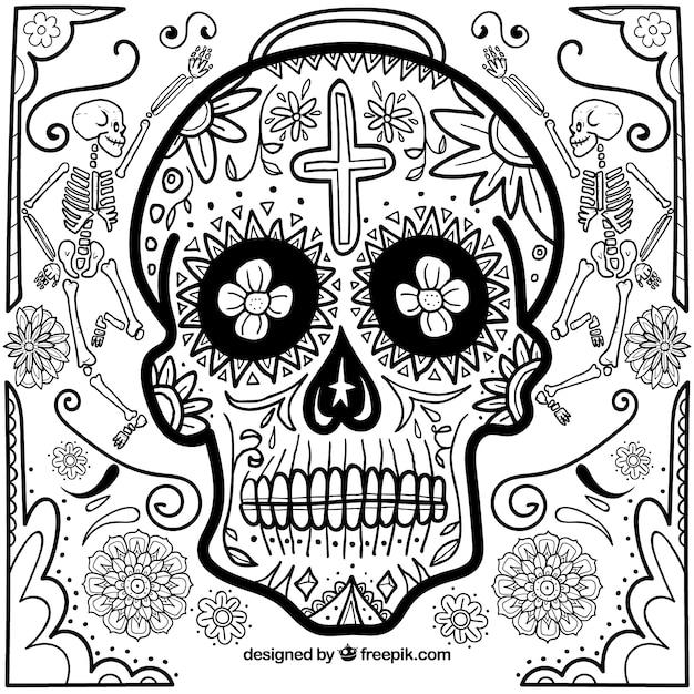 Fond de crâne mexicain tiré à la main Vecteur gratuit