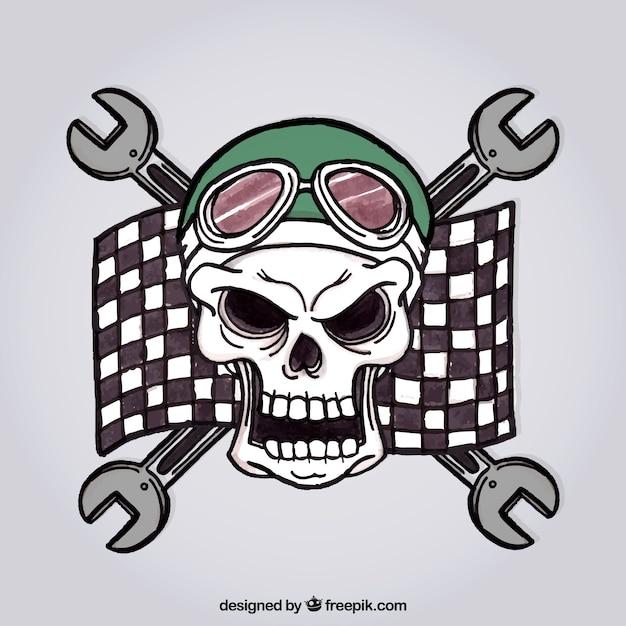 Fond crâne sauvage avec le drapeau de course Vecteur gratuit