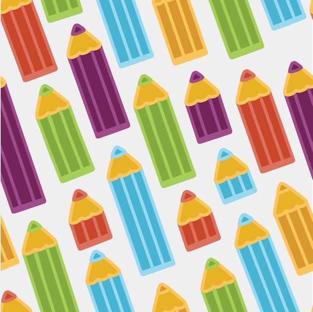Fond Avec Des Crayons De Couleur. Modèle Sans Couture. Vecteur Premium