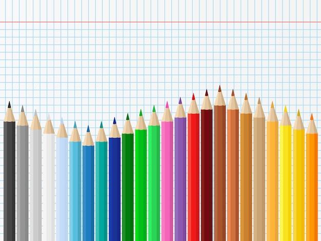 Fond Avec Des Crayons De Couleur Vecteur Premium
