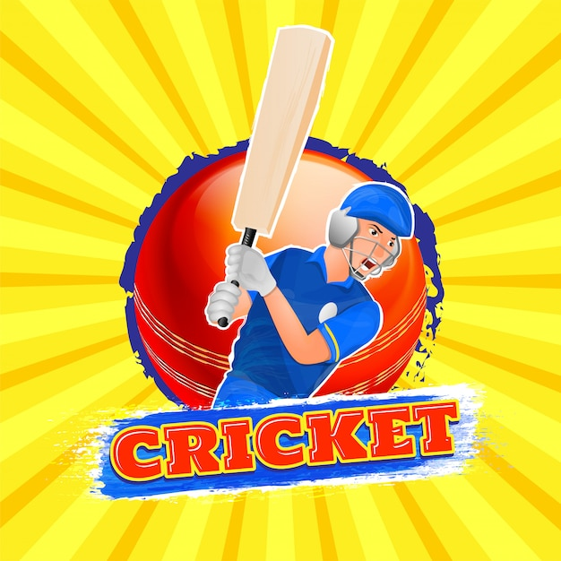 Fond de cricket. Vecteur Premium
