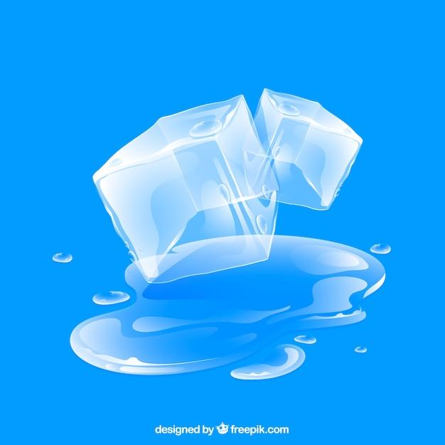 Fond de cube de glace avec un style réaliste Vecteur gratuit