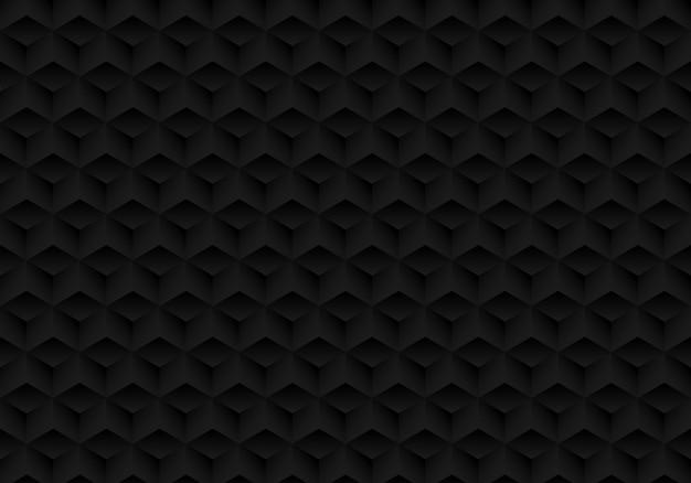 Fond de cubes noir 3d de symétrie géométrique réaliste Vecteur Premium