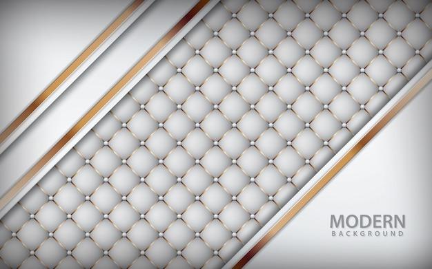 Fond en cuir de luxe blanc avec liste dorée Vecteur Premium