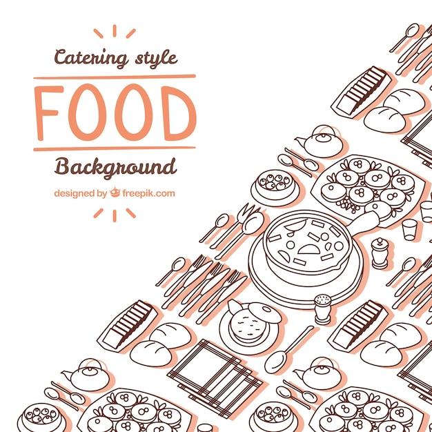 Fond de cuisine délicieuse avec style dessiné à la main Vecteur gratuit