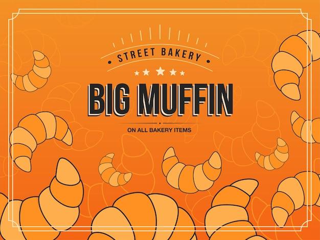 Fond Avec Cuisson. Illustrations De Croissants Avec Grand Texte De Muffin Et Cadre Sur Fond Orange. Vecteur gratuit