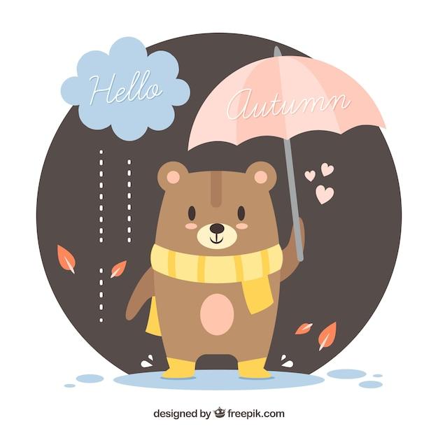 Fond d'automne avec ours mignon avec écharpe et parapluie Vecteur gratuit