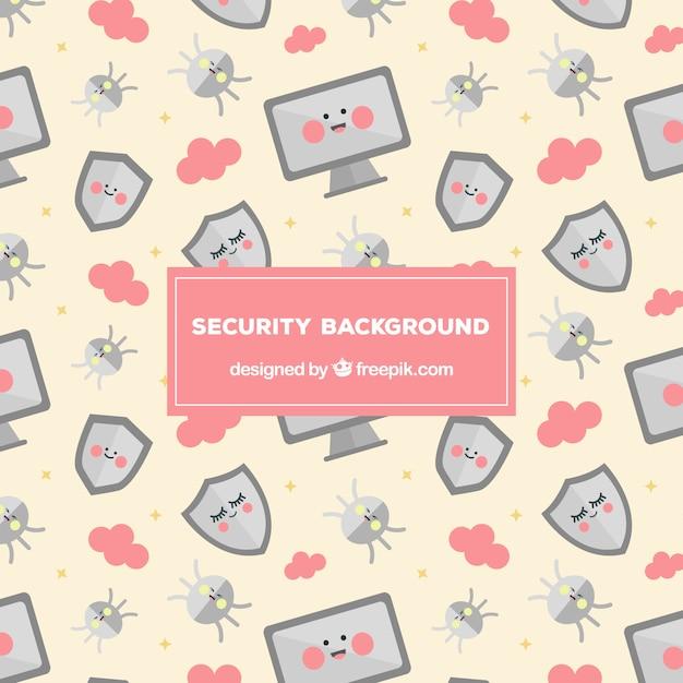 Fond d'écran des éléments de sécurité Vecteur gratuit