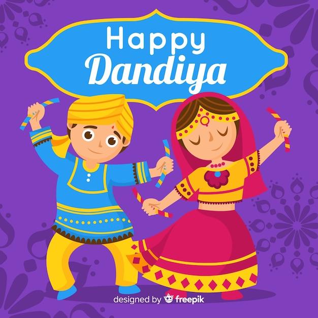 Fond de dandiya couple de danse Vecteur gratuit