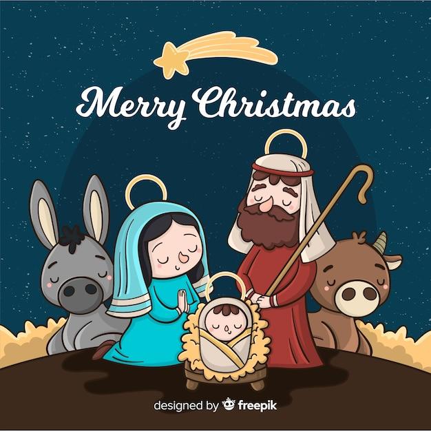 fond de bande dessinée de la Nativité Vecteur gratuit
