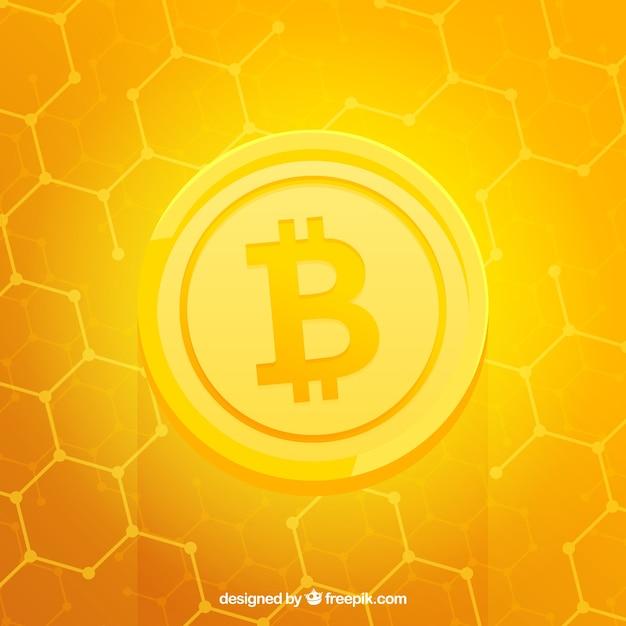Fond de bitcoin jaune brillant Vecteur gratuit