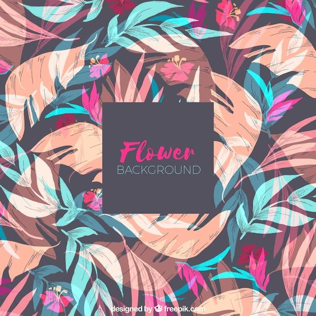 Fond de fleurs avec des feuilles dans le style dessiné à la main Vecteur gratuit