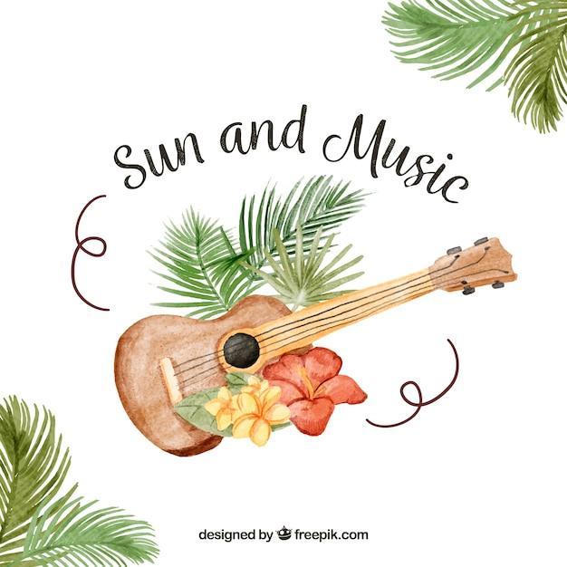 Fond de guitare avec fleurs tropicales et message for Livraison fleurs avec message