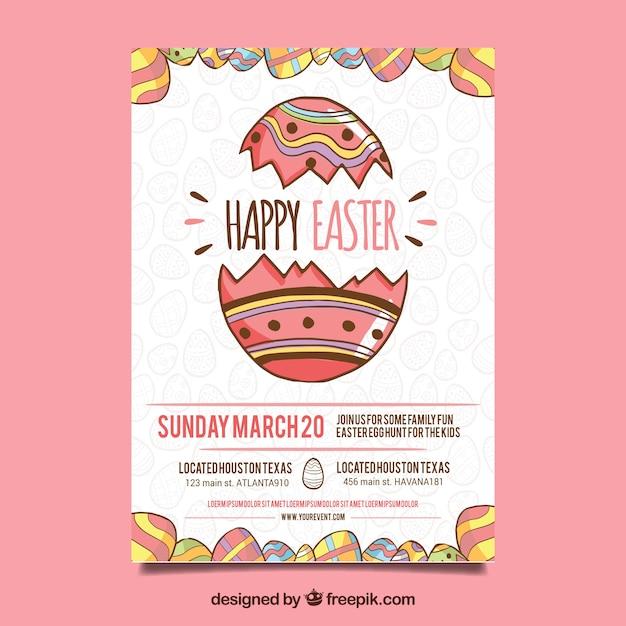 Fond de jour de Pâques Joyeux dessinés à la main Vecteur gratuit