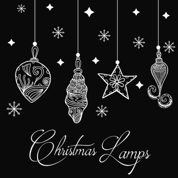 Fond de lampes de Noël dessinés à la main Vecteur gratuit
