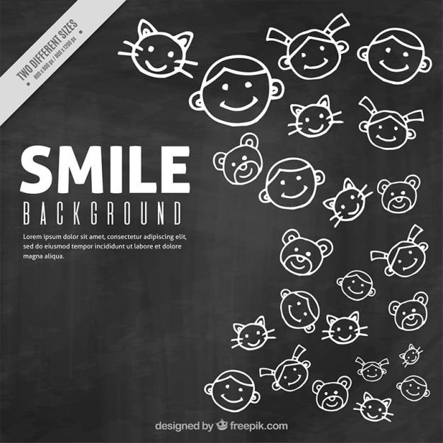 Fond de nice des sourires sur un tableau noir t l charger des vecteurs gratuitement for Ecrire sur un tableau noir