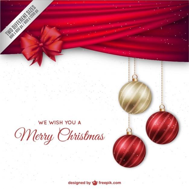 fond de Noël avec des boules élégantes et ruban rouge Vecteur Premium