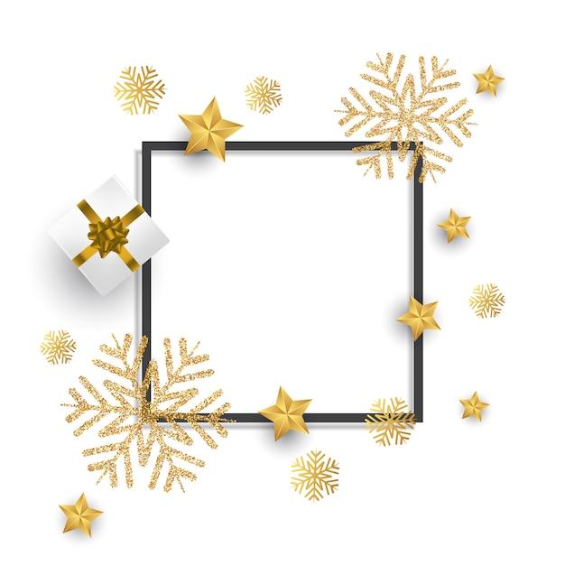 Fond de Noël avec des flocons de neige, cadeau et étoiles de paillettes Vecteur gratuit