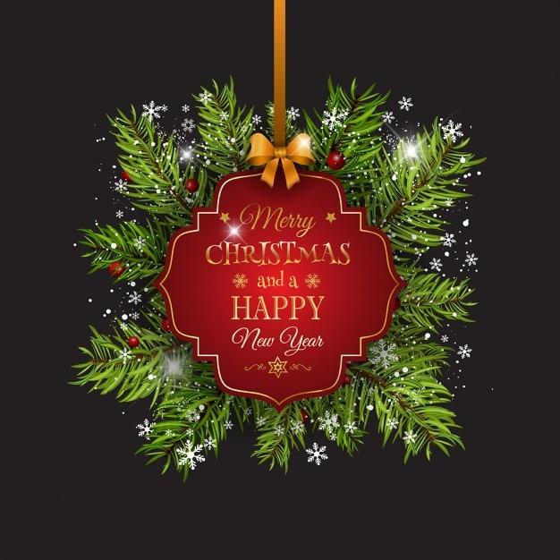fond de Noël avec sapin de branches d'arbres ruban et étiquette décorative Vecteur gratuit