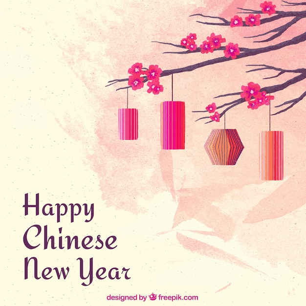 Fond de nouvel an aquarelle chinoise Vecteur gratuit
