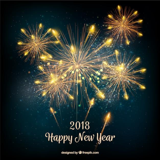 Fond de nouvel an avec des feux d'artifice or réalistes Vecteur gratuit