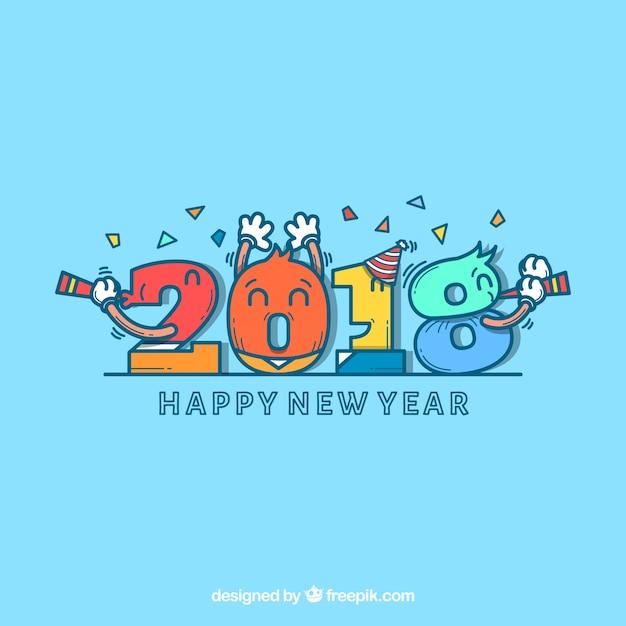 Fond de nouvel an avec des nombres Vecteur gratuit