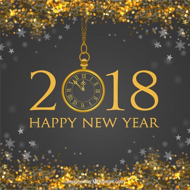 Fond de nouvel an avec des paillettes dorées Vecteur gratuit