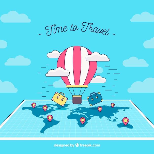 Fond de voyage avec ballon au-dessus de la carte Vecteur gratuit