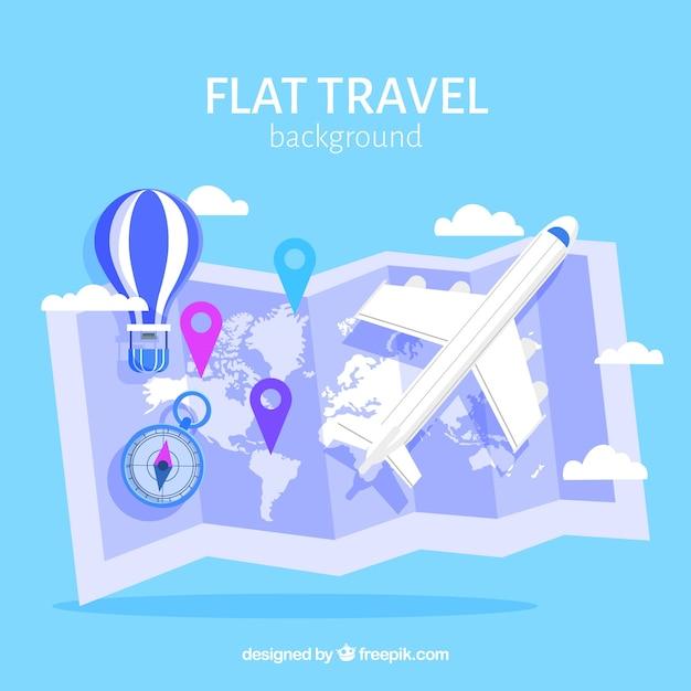 Fond de voyage avec carte Vecteur gratuit