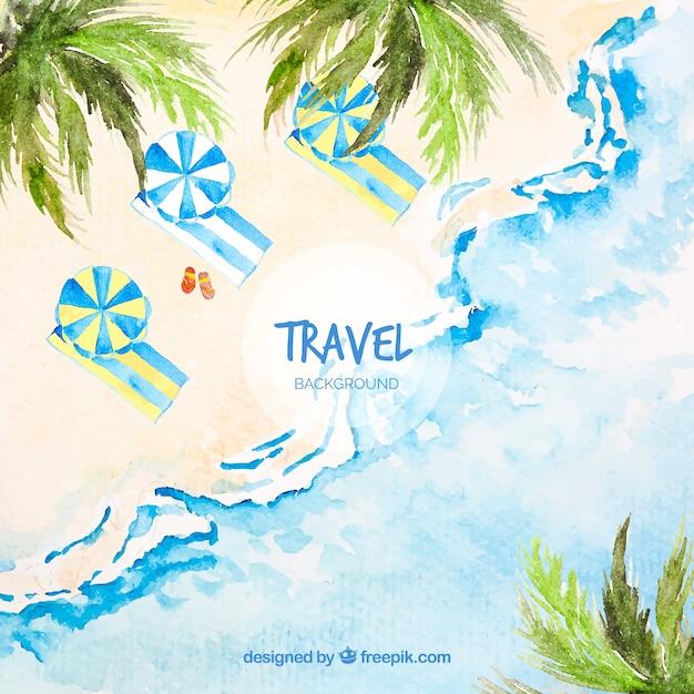 Fond de voyage avec plage dans un style aquarelle Vecteur gratuit