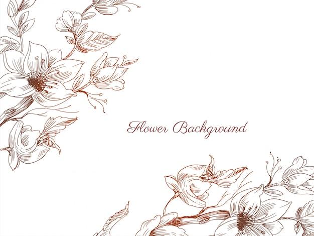 Fond Décoratif Abstrait Fleur Dessiné à La Main Vecteur Premium