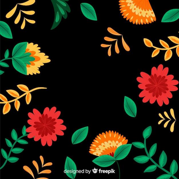 Fond décoratif broderie florale mexicaine Vecteur gratuit