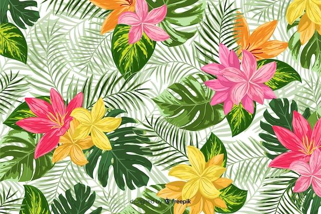 Fond décoratif coloré de fleurs tropicales Vecteur gratuit