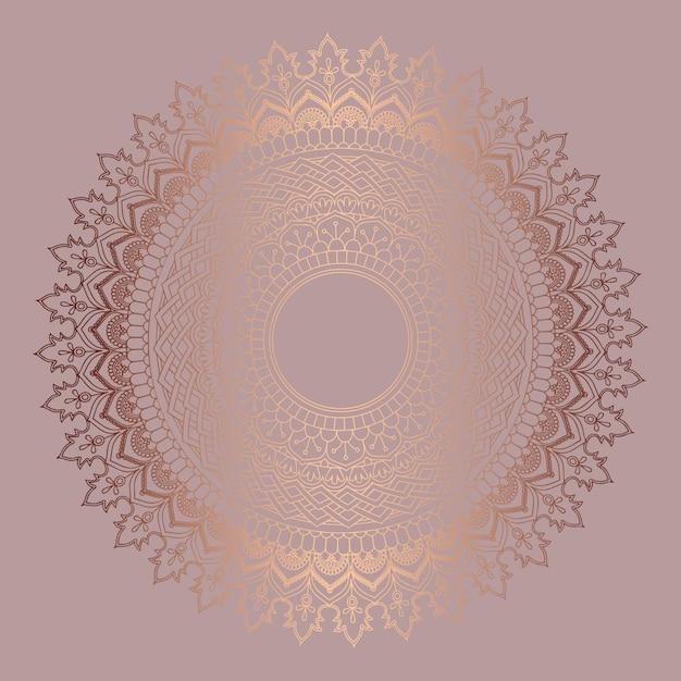 Fond décoratif avec un design de mandala en or rose Vecteur Premium