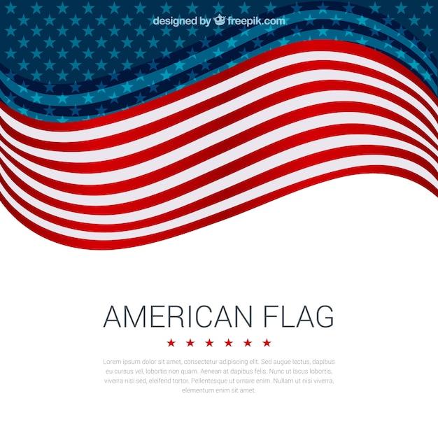 Fond Décoratif Du Drapeau Américain Ondulé Dans Un Design Plat Vecteur gratuit