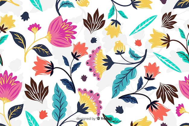 Fond décoratif de fleurs exotiques colorées Vecteur gratuit
