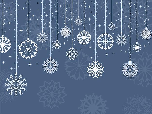 Fond Décoratif De Flocons De Neige Et D'étoiles Vecteur gratuit