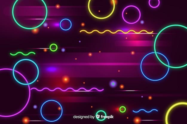Fond décoratif de formes géométriques au néon Vecteur gratuit