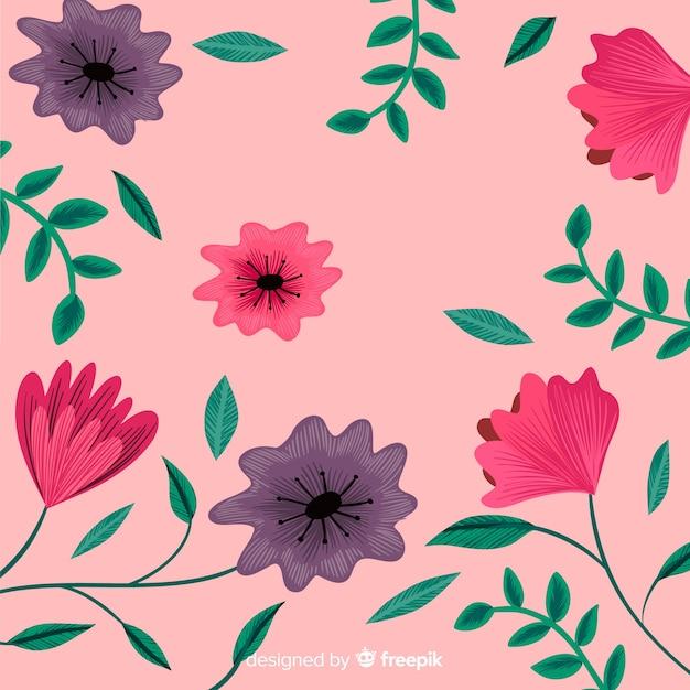 Fond décoratif plat broderie florale Vecteur gratuit